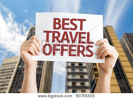 Best Travel Offers card with a urban background