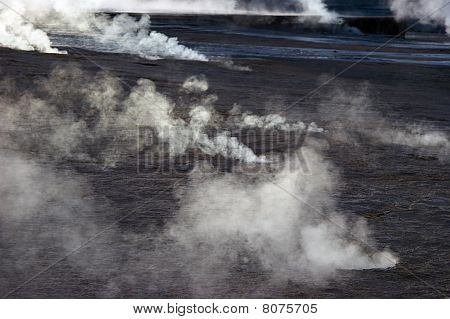 Steam Rising From Geyser Field, Chile