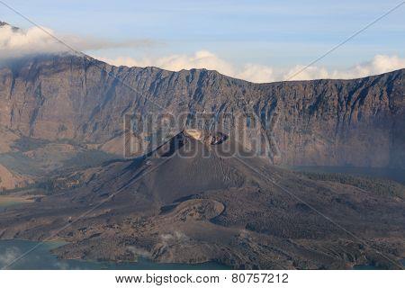 Mount Rinjani Volcano with Barujari active cone
