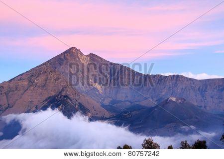 Sunset over the Mount Rinjani Volcano