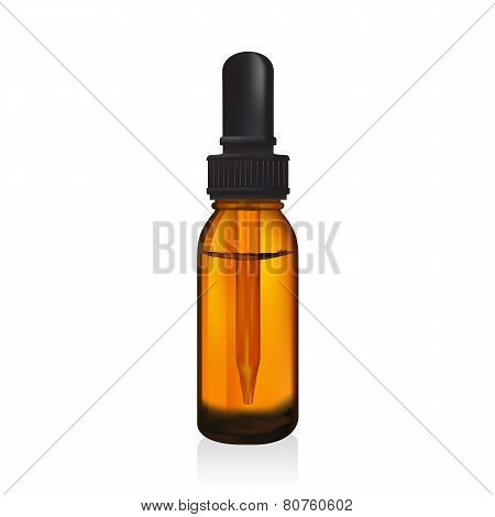 Illustration Of Glass  Bottle With Pipe Dropper Vector Isolated