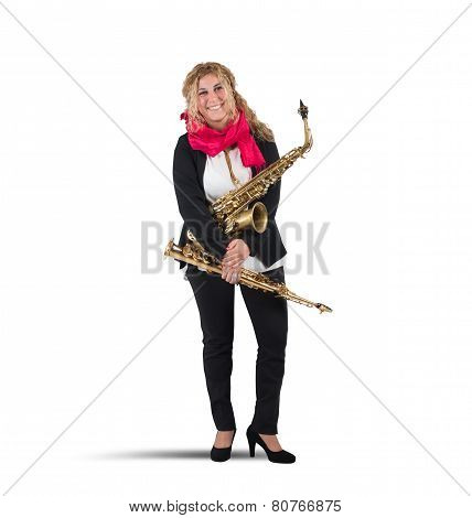Musician and trumpet