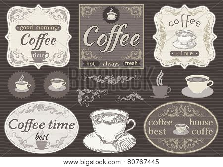 Vintage labels  - coffee time
