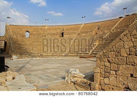 Inside the Amphitheater in Caesarea Maritima National Park