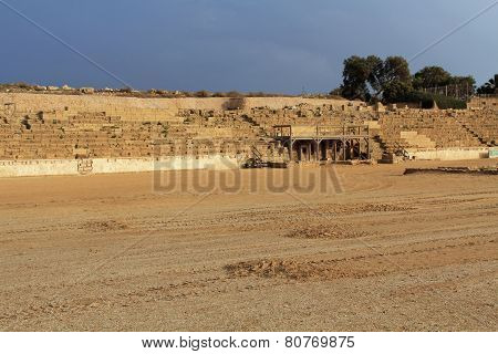 Stage of the Hippodrome in Caesarea Maritima National Park