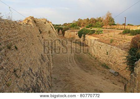 Fortress Moat in Caesarea Maritima National Park