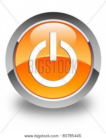 Power Icon Glossy Orange Round Button