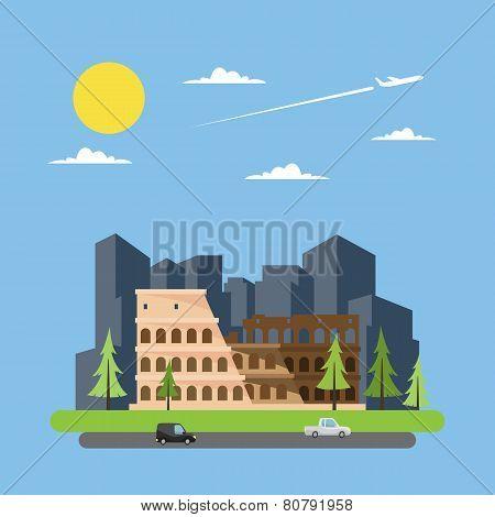 Flat Design Of Coloseum Italy