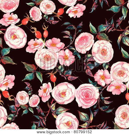Hand drawn watercolor floral seamless pattern with tender pink roses and brier flowers and berries