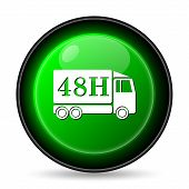 48H delivery truck icon. Internet button on white background. poster