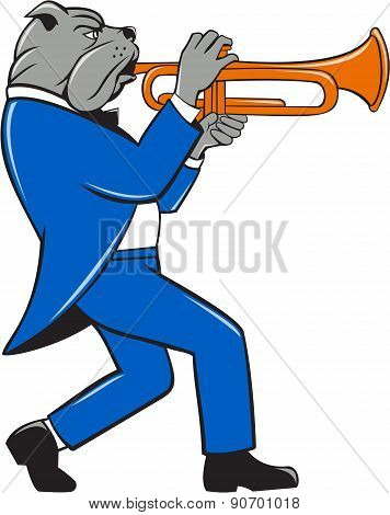 Illustration of a bulldog in a suit blowing trumpet marching walking viewed from the side set on isolated white background done in cartoon style. poster