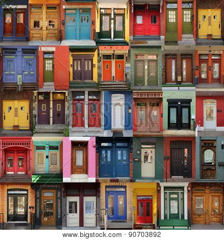 Collage of old and colorful doors from Montreal, Canada
