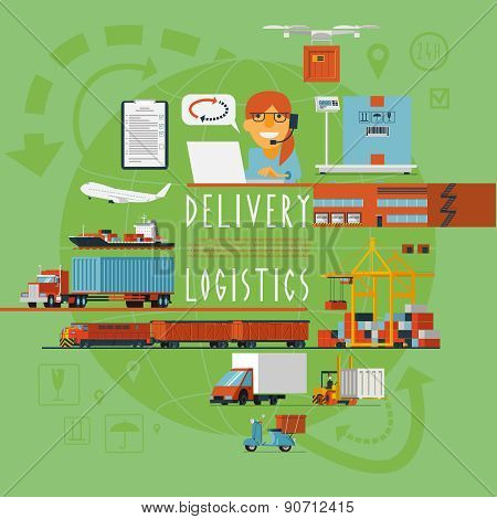 Worldwide transportation logistic concept poster