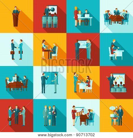 Business Training Icons Flat Set