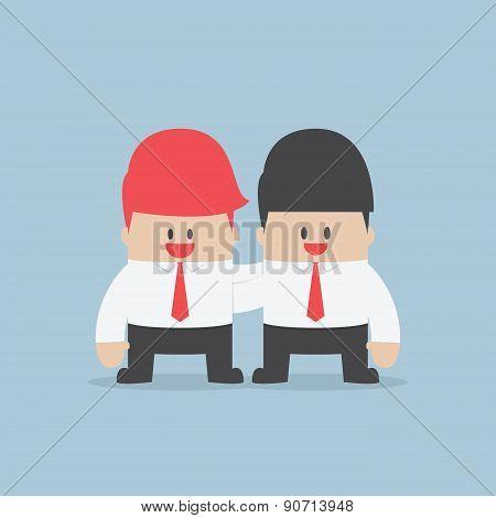 Businessman Embrace His Partner