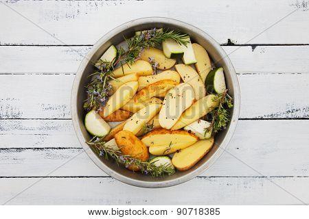Fresh Raw Potatoes On Table