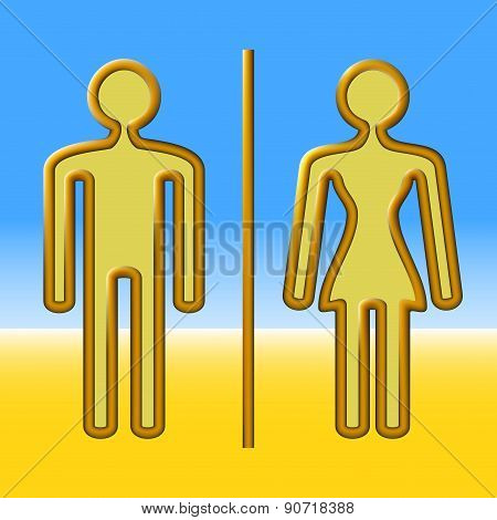 Man And Woman Out Of Copper Wire