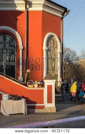 Parishioners In Courtyard Of Temple Of Annunciation In Petrovsky Park