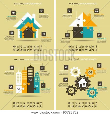 Architecture infographics. Four abstract pattern with houses, business icons, text and numbers. File is saved in AI10 EPS version. This illustration contains a transparency