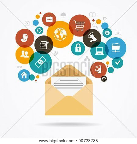 The concept of electronic mail. Marketing design. Modern design  envelope surrounded by colored glass of icons. The file is saved in the version AI10 EPS. This image contains transparency.