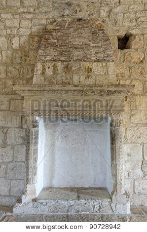 Fireplace In Medieval Castle