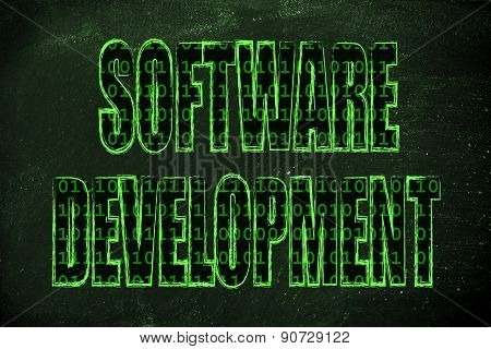 Illustration Of The Word Software Development With A Binary Code Pattern