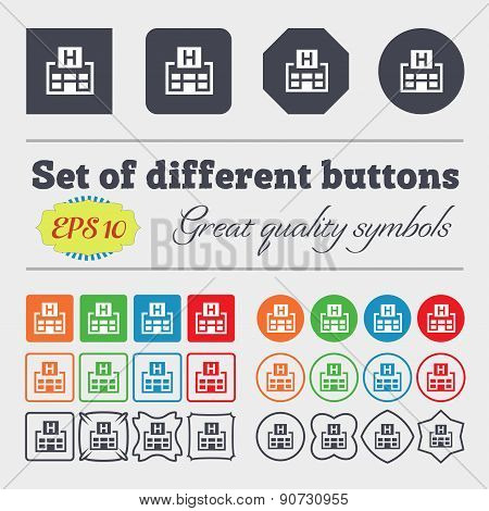 Hotkey  Icon Sign Big Set Of Colorful, Diverse, High-quality Buttons. Vector