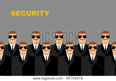 Security Bodyguard. Pattern of men in glasses.  Vector background of people