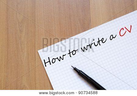 How To Write A Cv Concept