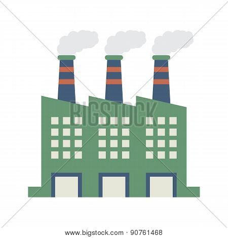 Factory Building With Smoke Stacks.