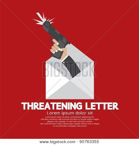 Hand With Knife Threatening Letter Concept.