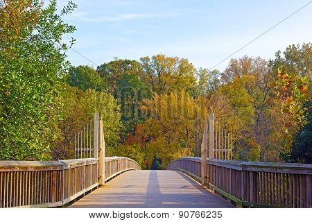 A footpath bridge to Theodore Roosevelt Island and colorful trees in autumn Washington DC.