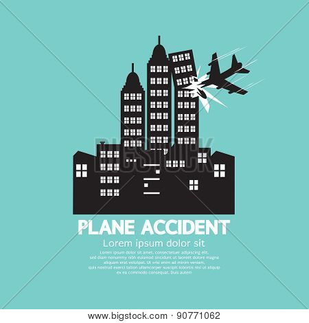Plane Accident With Skyscrapers Black Graphic.