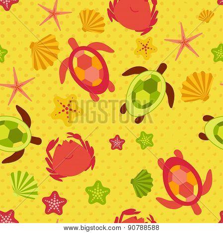 Seamless pattern with flat sea animal