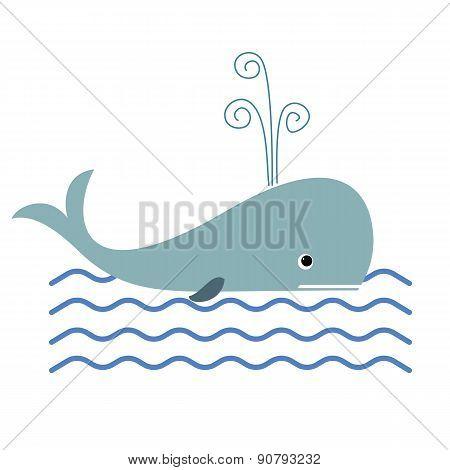 Whale and ocean waves illustration