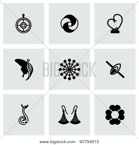 Vector Jewellery icon set on grey background poster
