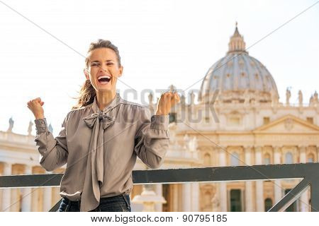 Smiling Woman In Vatican City In Rome Cheering And Laughing