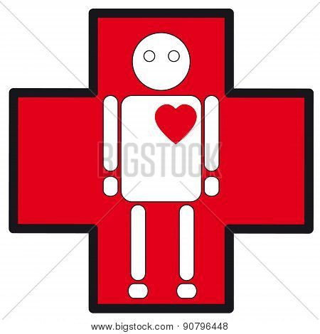 Human White Silhouette Medical Icon Of Heart Failure