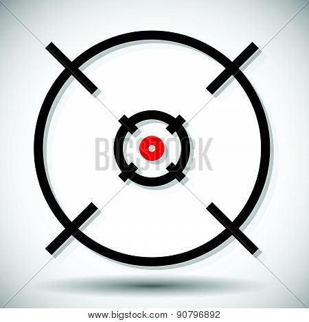 Crosshair firearm's reticle graphics with red dot vector. Precision accuracy alignment concepts poster