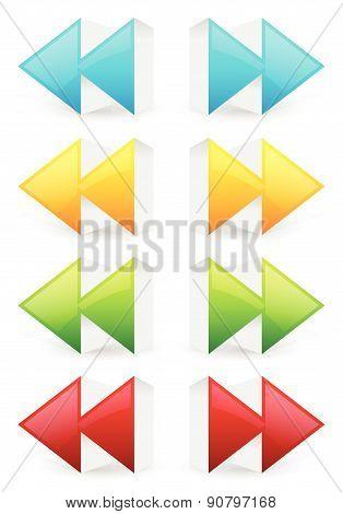 Glossy 3D Forward And Backward (rewind, Fast Forward) Arrow Buttons, Icons.