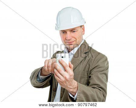 Construction Supervisor Making Phone Photos