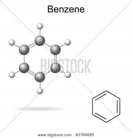 Chemical Formula And Model Of Benzene Molecule