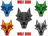 Wolf emblem in sharp futuristic red indian style. Available in five colors poster