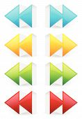 Glossy 3d forward and backward (rewind fast forward) arrow buttons icons. poster