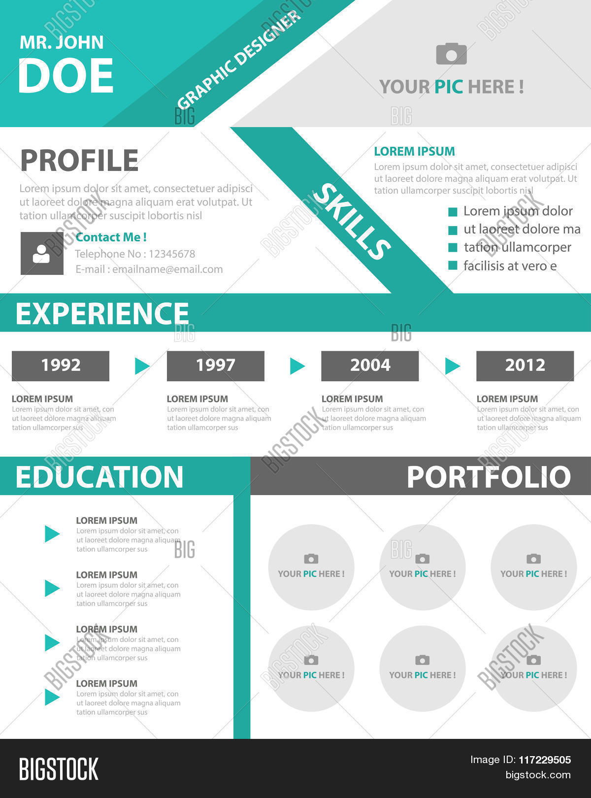 smart creative resume vector  u0026 photo  free trial