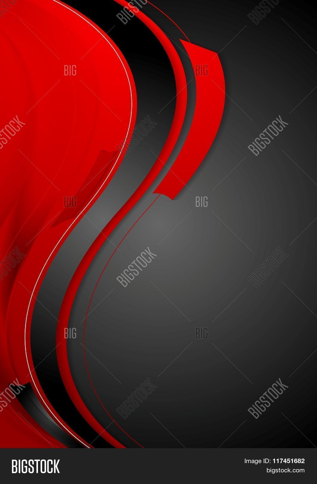 Bright Contrast Red Black Wavy Background Vector Graphic Design