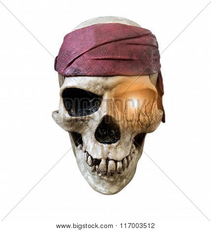 Skull wearing maroon bandanna with double exposure sun and silhouette branches on right eye, isolate