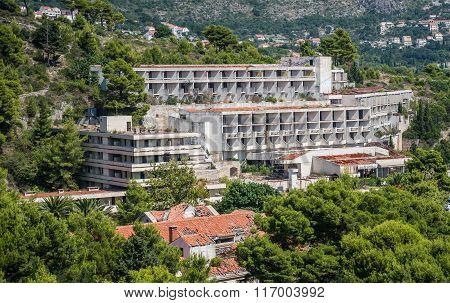 Abandoned hotels in former Tourist Complex of Kupari village Croatia poster