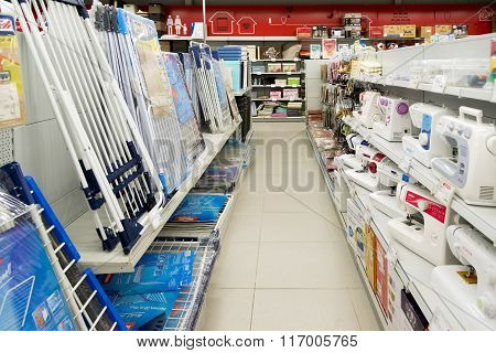 Moscow Russia - February 02. 2016.Interior of Eldorado is large chain stores selling electronics and household appliances
