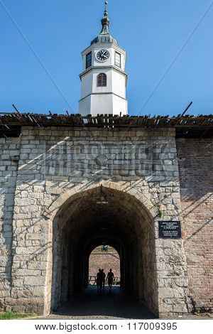 clock tower and gate in Belgrade Fortress Serbia poster